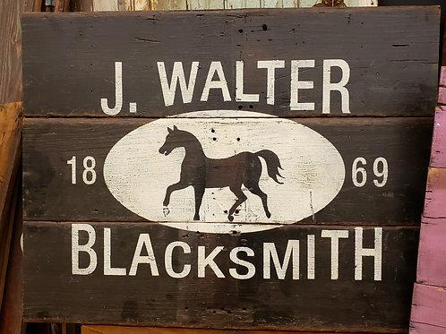 Hand Painted Blacksmith Sign Reclaimed Barnwood