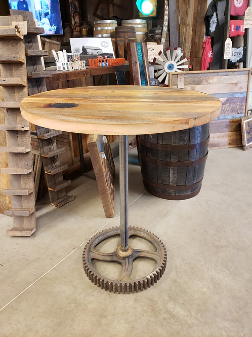 Farmhouse Round Cocktail Table with Metal Gear Base