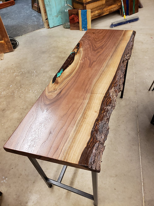 Live Edge Slab Console Table with Green Epoxy fill Steel Base Rustic Farmhouse