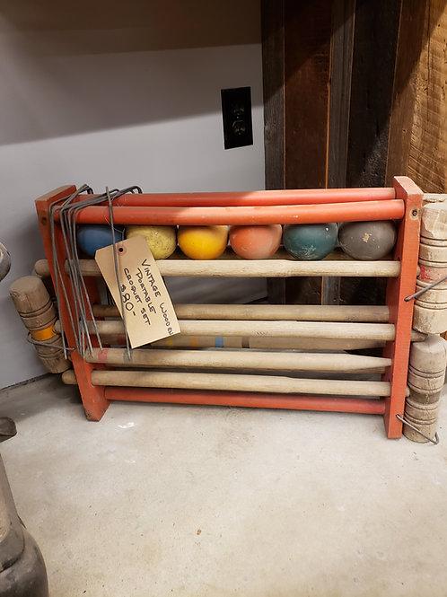 Vintage Wooden Portable Croquet Set