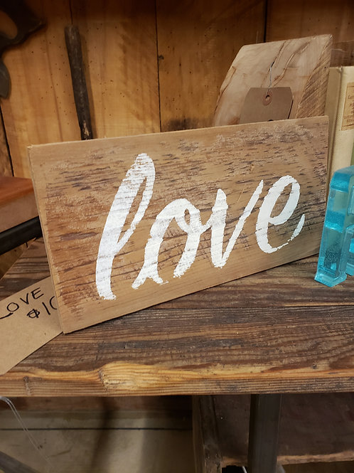 Small Love Sign Painted on Reclaimed Barnwood