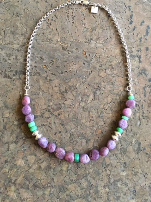 Ruby Pebble and Chrysoprase Necklace