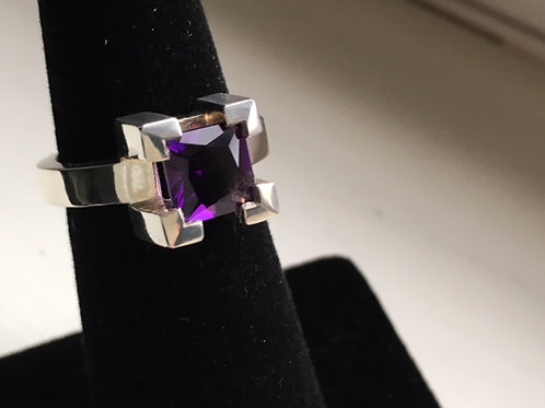 Square Amethyst - Chunky Claw Ring
