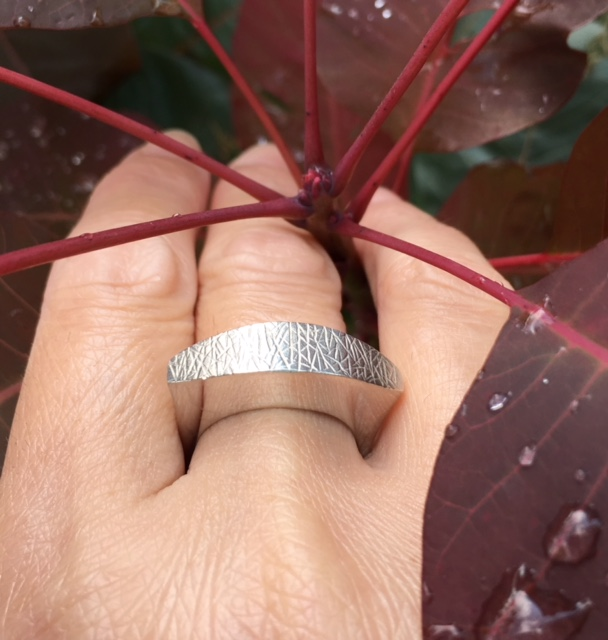 Concave Convex Sterling ring - handcarved