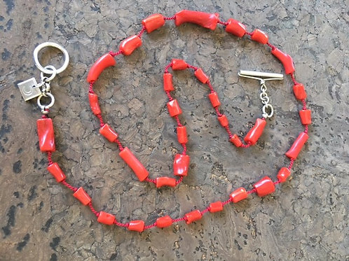 Grab the rope!  Coral, natural colour, vintage beads
