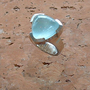 Trillion-Cut Aquamarine Diamond Ring