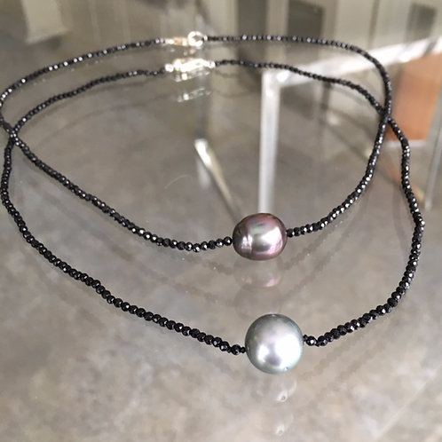 Round Bluish Silver Tahitian (Forefront) and Spinel Necklace