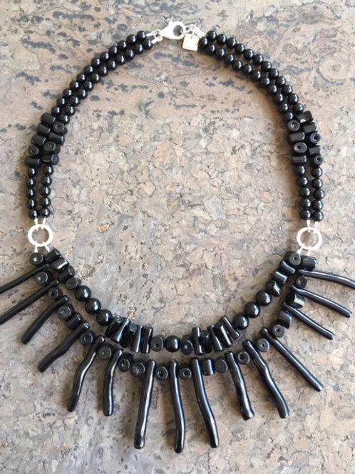 Natural Black (undyed) Coral Bib Necklace