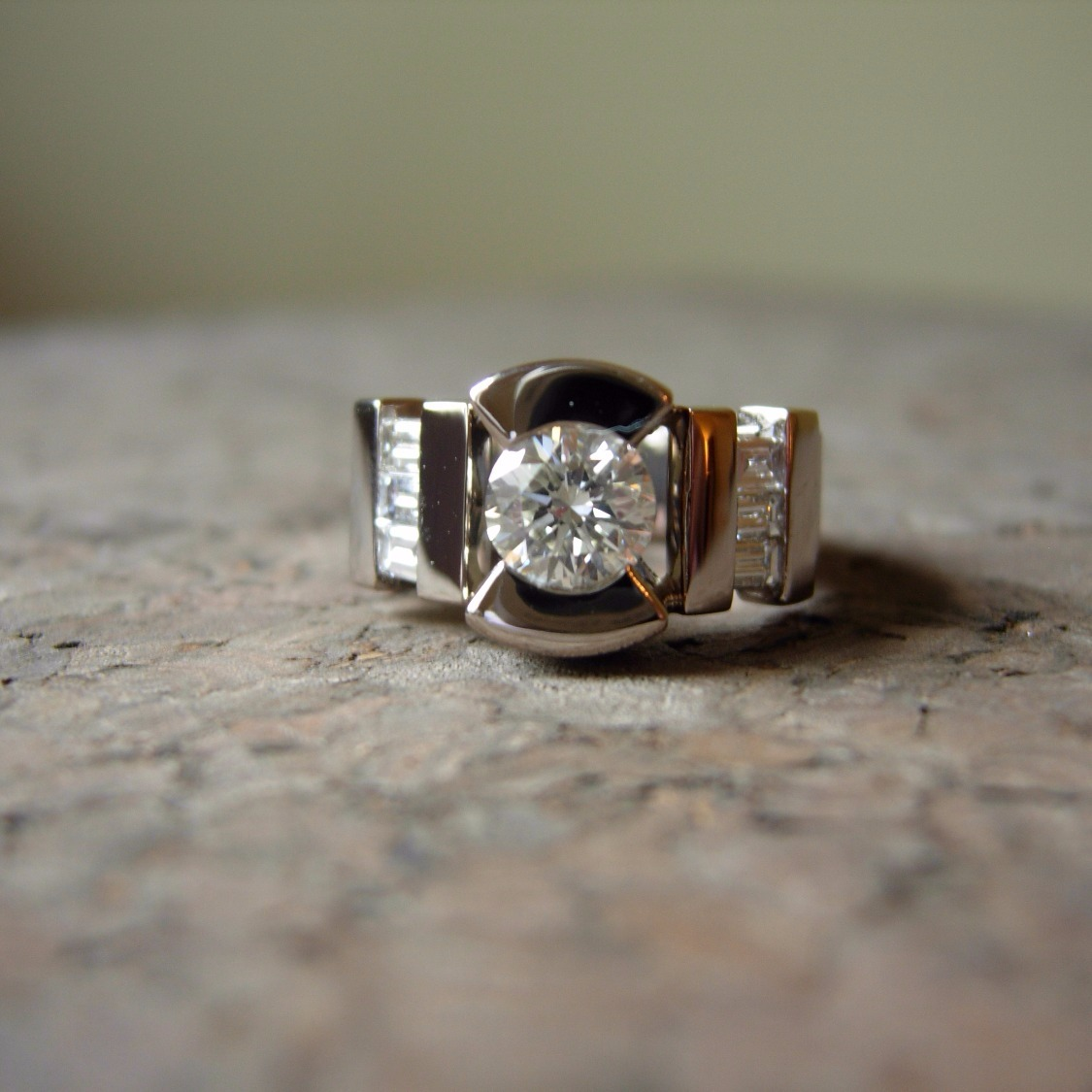 Custom 18K palladium white gold ring