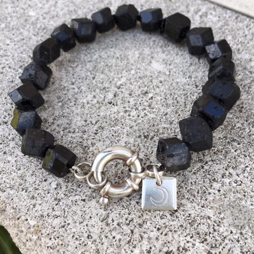 Natural Raw Black Garnet Bracelet
