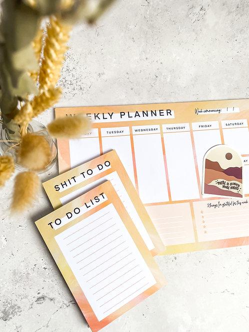 BUNDLE - Sunset Weekly Planner, Notepad & Sticker