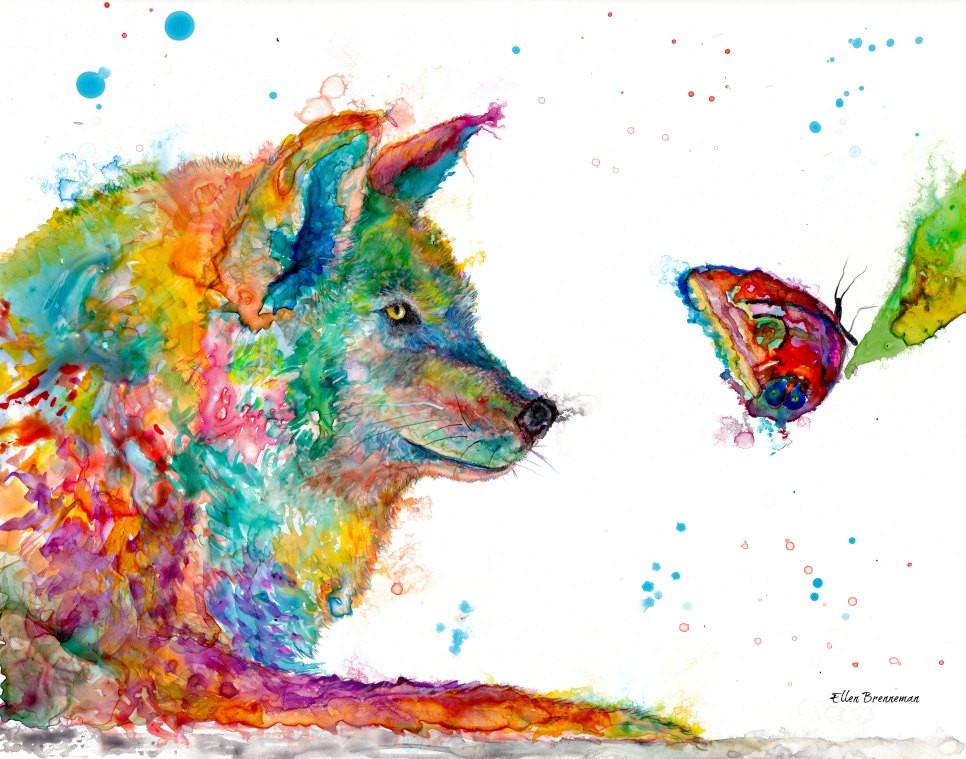 Wolf Spirit Animal art by Ellen Brenneman