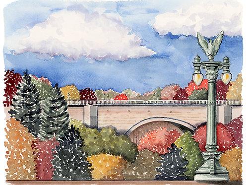 Duke Ellington Bridge Giclee Watercolor Print or Greeting Card