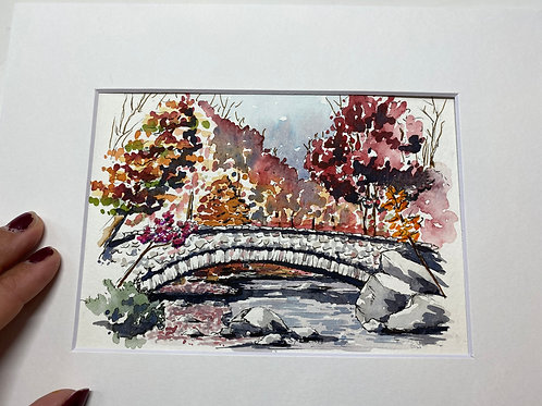 5x7 Boulder Bridge Original Watercolor