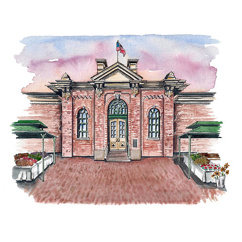 Eastern Market Watercolor Print or Greeting Card