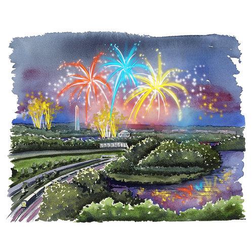 Long Bridge Park on July 4th Giclee Watercolor Print
