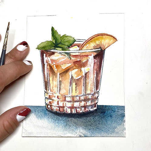 Bourbon Peach Smash Original Watercolor