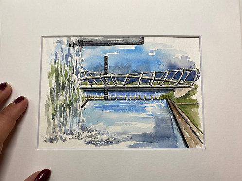 5x7 Yards Park Original Watercolor