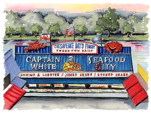 Wharf Seafood Giclee Watercolor Print or Greeting Card