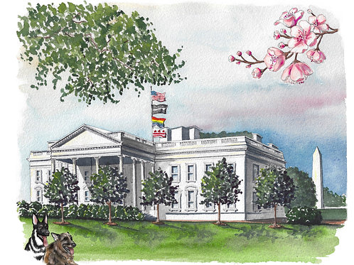 2021 White House Watercolor Print, two options