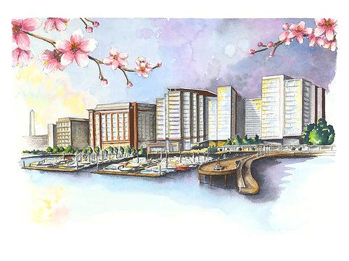 DC Wharf Watercolor Print or Greeting Card