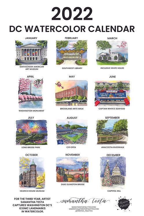 2022 DC Watercolor 11x17 Wall Calendar