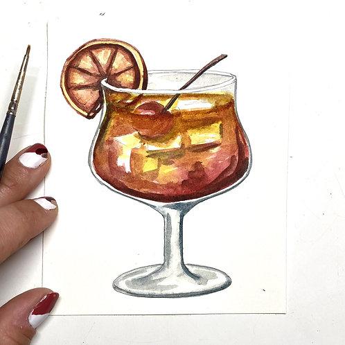 Tequila Sunrise Original Watercolor