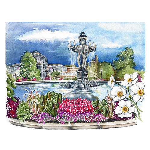 Bartholdi Park, U.S. Botanic Garden Giclee Print AND Greeting Card