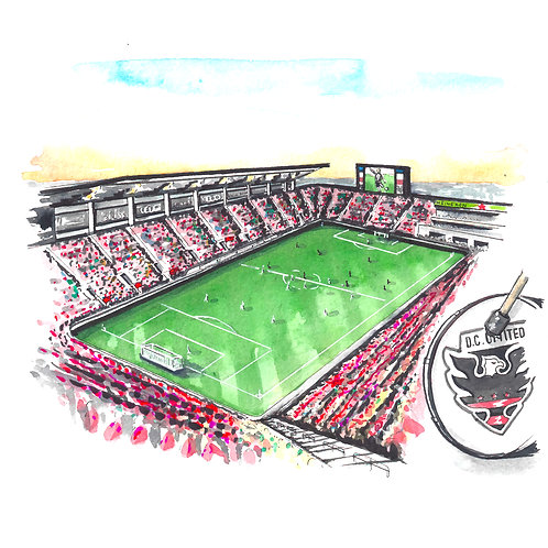 DC United Watercolor Print or Greeting Card