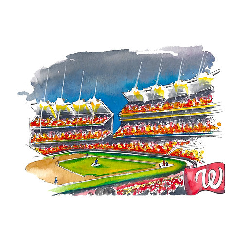 Washington Nationals Watercolor Print or Greeting Card