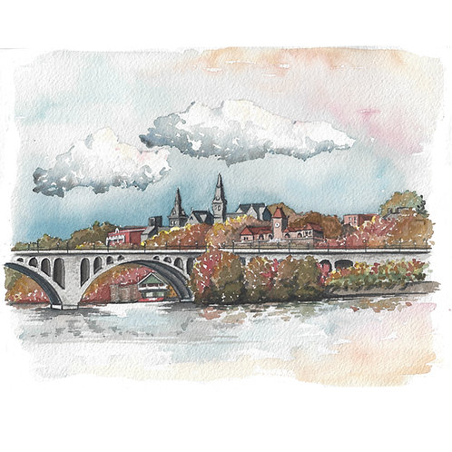 Georgetown in Fall Print or Greeting Card
