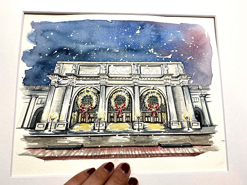 8x10 Union Station Holiday Original Watercolor