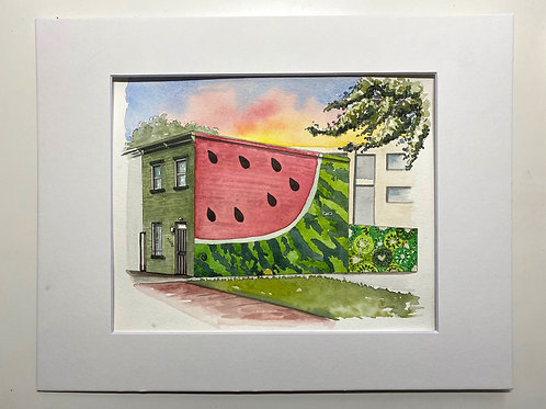 8x10 Watermelon House Watercolor