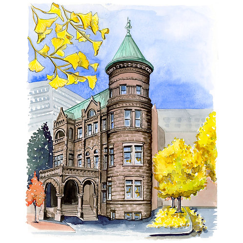 Heurich House Giclee Watercolor Print or Greeting Card
