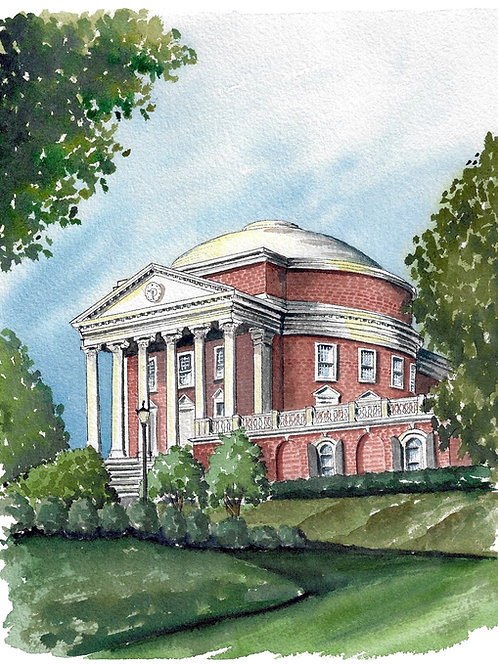 UVA Rotunda Watercolor Print