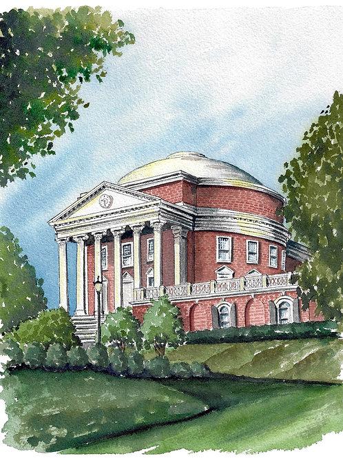 UVA Rotunda Watercolor Print