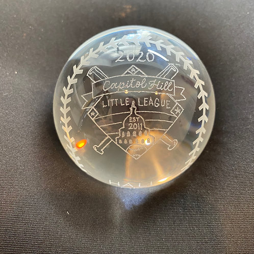 Engraved Crystal Baseball Paperweight