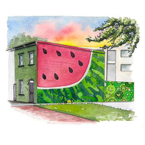 Watermelon House Watercolor Print or Greeting Card