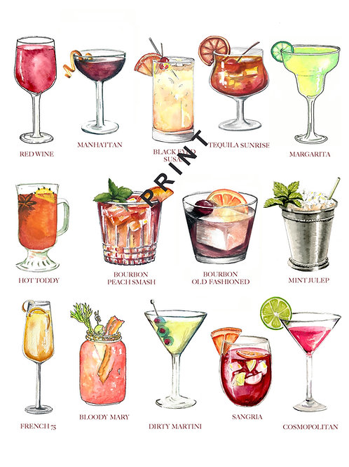 Cocktail Watercolor Print or Greeting Card
