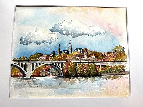 8x10 Fall in Georgetown Original Watercolor