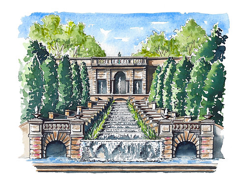 Meridian Hill/Malcolm X Park Watercolor Print or Greeting Card