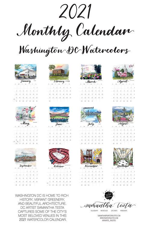 2021 DC Watercolor 11x17 Wall Calendar