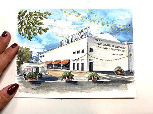 6x8  Union Market Original Watercolor
