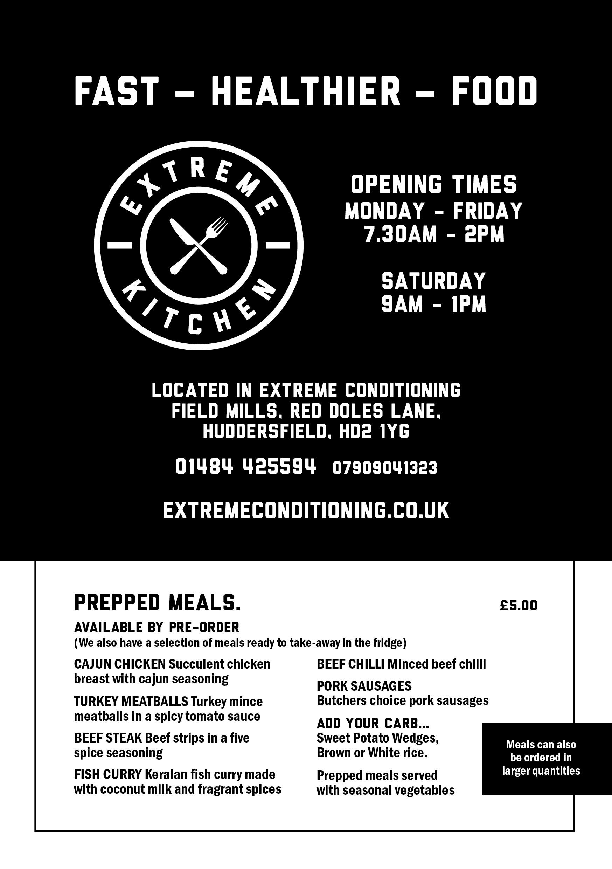 Extreme Kitchen Menu leaflet - front
