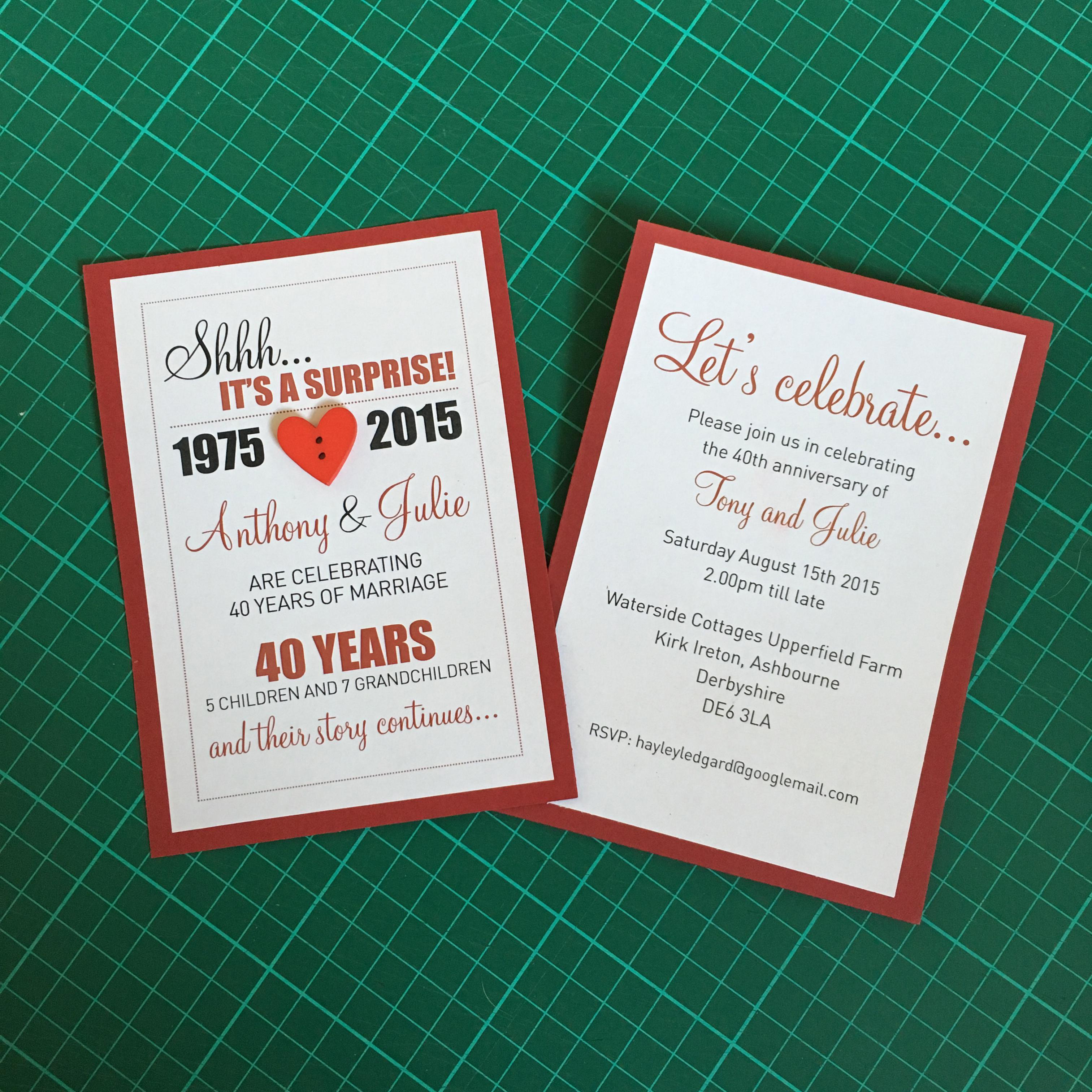 40 year Invite