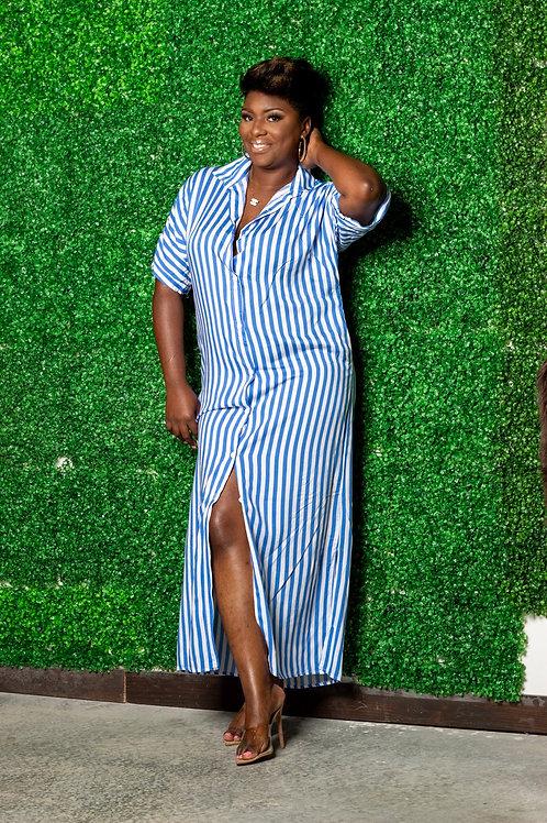Blues Hues Stripe Shirt Dress
