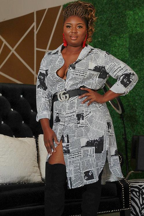 Newspaper print dress