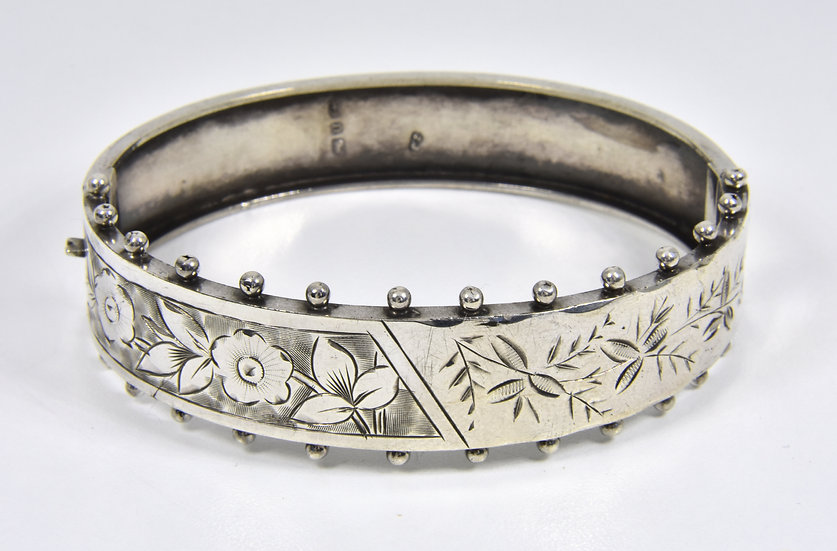 Antique Victorian Solid Silver Hinged Bracelet, 1888
