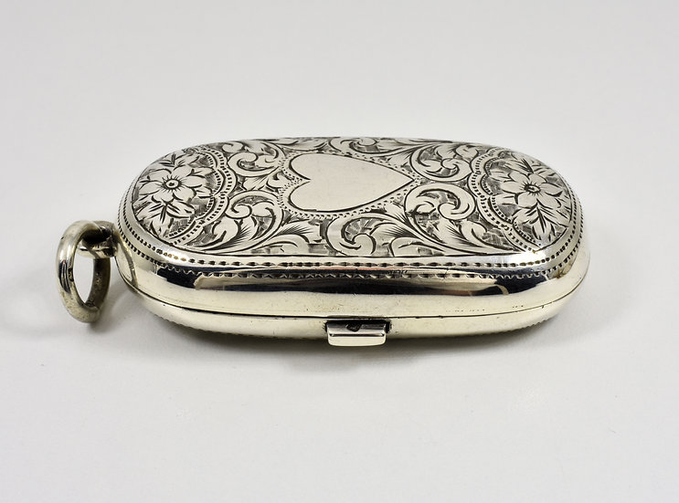 Antique English Solid Silver Double Sovereign Case (William Oliver, 1899)