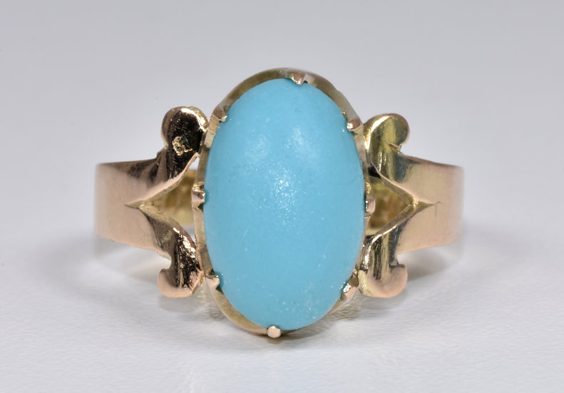 Antique Edwardian 9ct Gold Turquoise Solitaire Ring, 1904